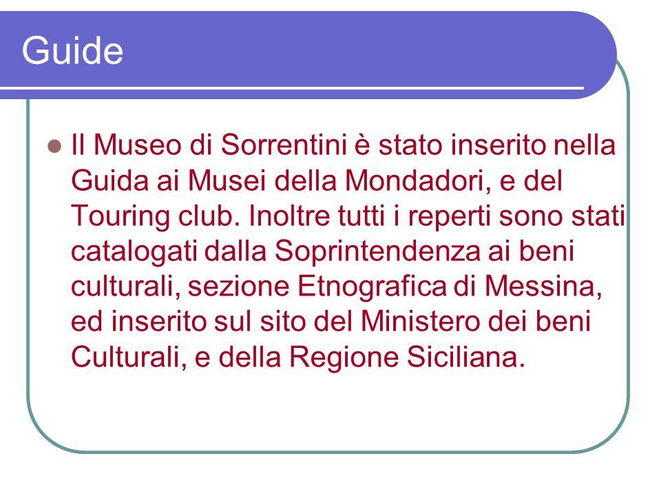 Il Museo di Sorrentini è stato inserito nella Guida ai Musei della Mondadori, e del Touring club.