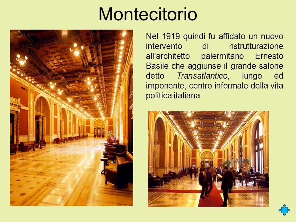 Montecitorio Nel 1919 quindi fu affidato un nuovo intervento di ristrutturazione allarchitetto palermitano Ernesto Basile che aggiunse il grande salon