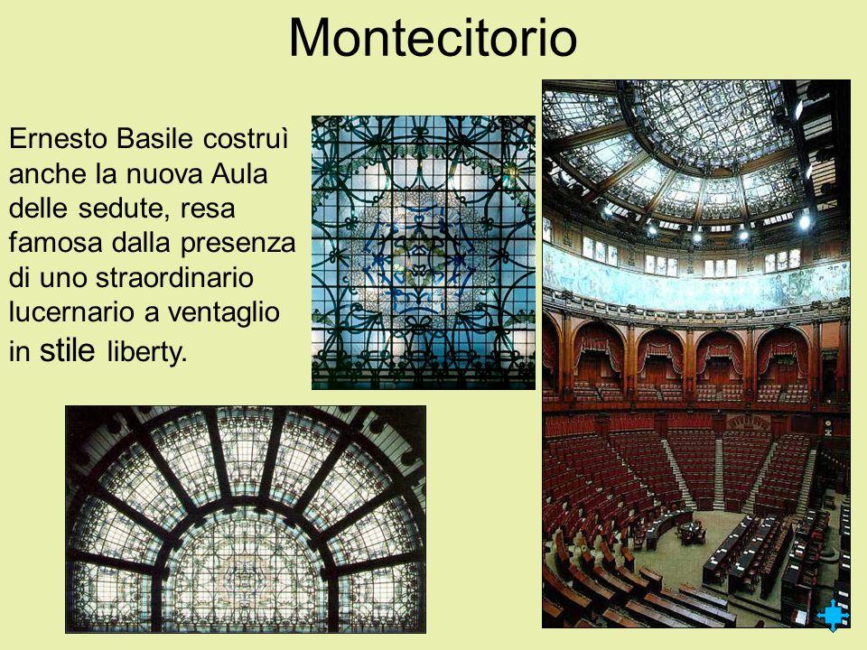 Montecitorio Ernesto Basile costruì anche la nuova Aula delle sedute, resa famosa dalla presenza di uno straordinario lucernario a ventaglio in stile