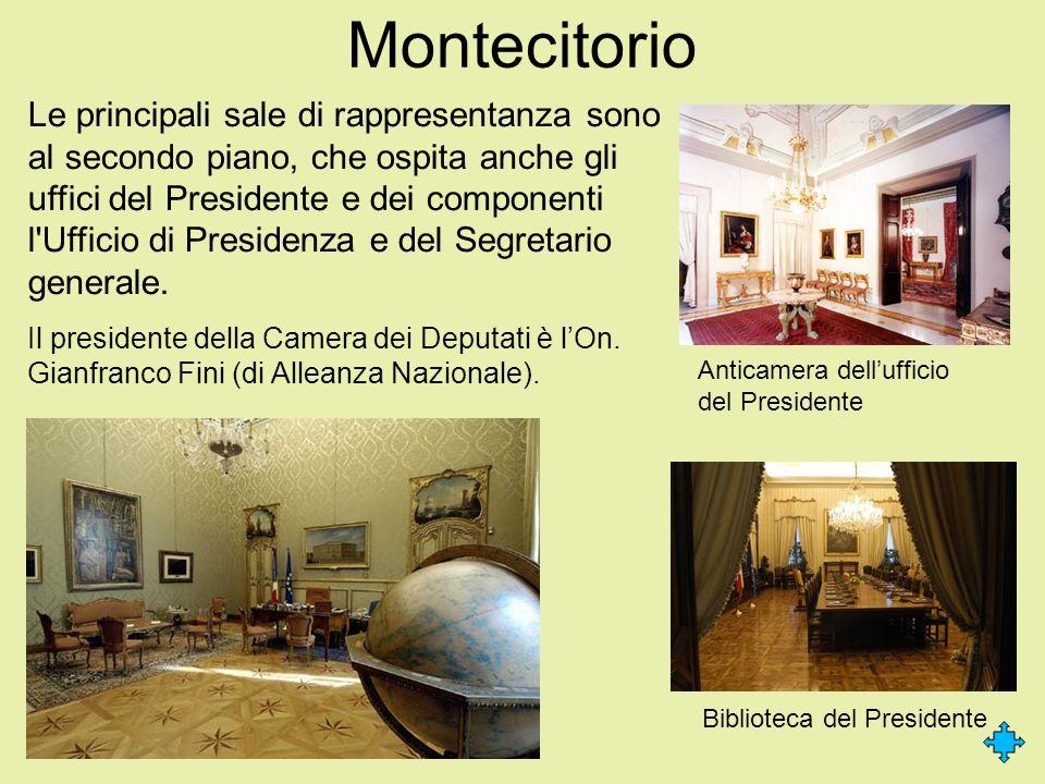 Montecitorio Le principali sale di rappresentanza sono al secondo piano, che ospita anche gli uffici del Presidente e dei componenti l'Ufficio di Pres