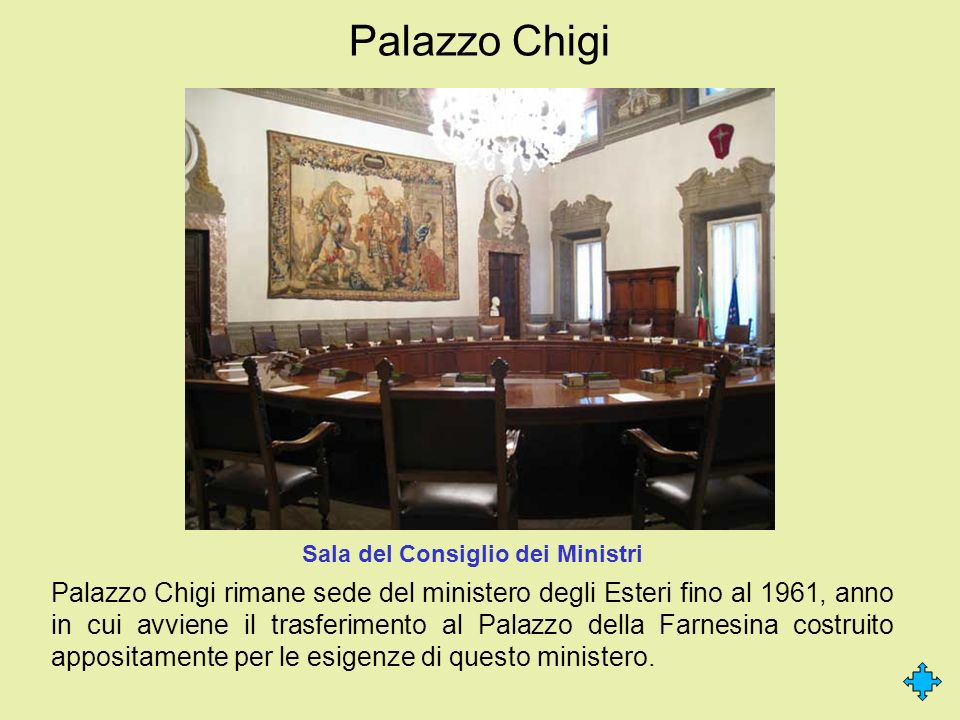 Palazzo Chigi Palazzo Chigi rimane sede del ministero degli Esteri fino al 1961, anno in cui avviene il trasferimento al Palazzo della Farnesina costr