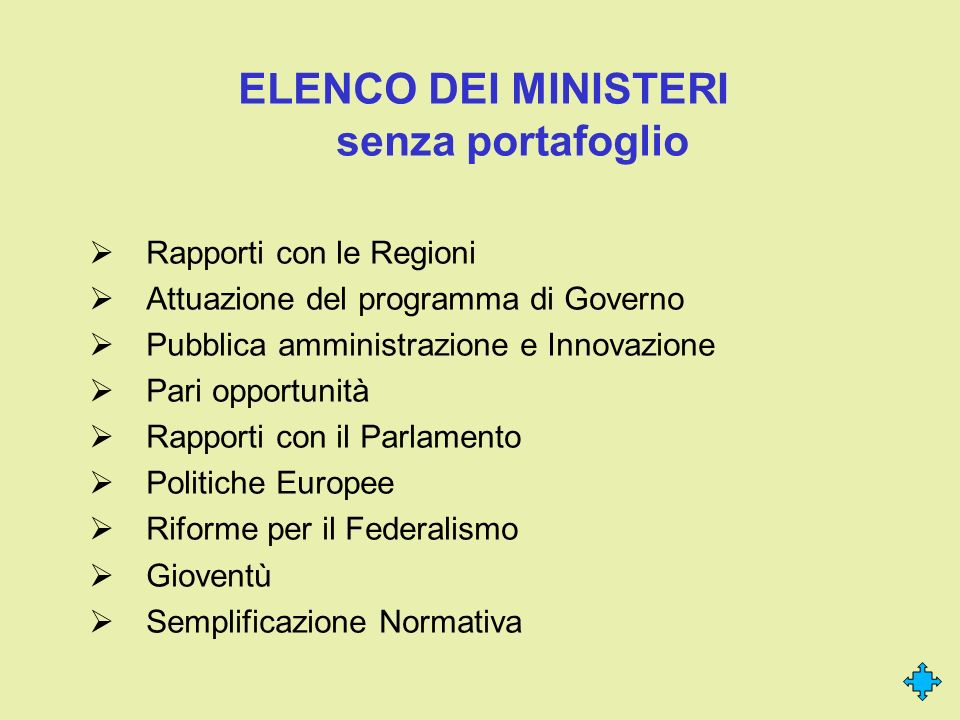 ELENCO DEI MINISTERI senza portafoglio Rapporti con le Regioni Attuazione del programma di Governo Pubblica amministrazione e Innovazione Pari opportu