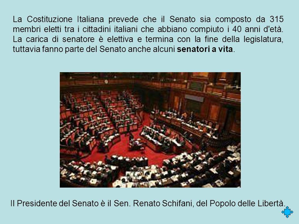 La Costituzione Italiana prevede che il Senato sia composto da 315 membri eletti tra i cittadini italiani che abbiano compiuto i 40 anni d'età. La car