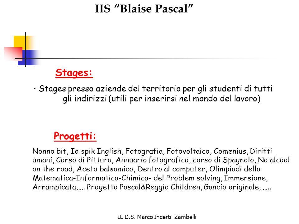 IL D.S. Marco Incerti Zambelli IIS Blaise Pascal Stages: Stages presso aziende del territorio per gli studenti di tutti gli indirizzi (utili per inser