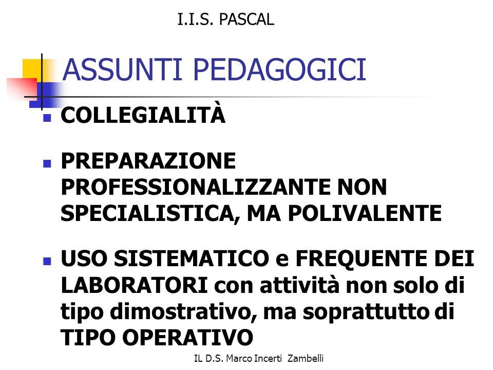 IL D.S. Marco Incerti Zambelli ASSUNTI PEDAGOGICI COLLEGIALITÀ PREPARAZIONE PROFESSIONALIZZANTE NON SPECIALISTICA, MA POLIVALENTE USO SISTEMATICO e FR
