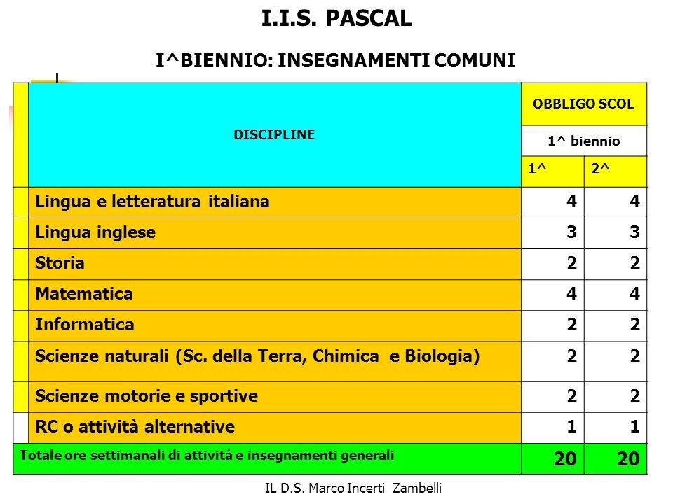 IL D.S. Marco Incerti Zambelli DISCIPLINE OBBLIGO SCOL 1^ biennio 1^2^ Lingua e letteratura italiana44 Lingua inglese33 Storia22 Matematica44 Informat