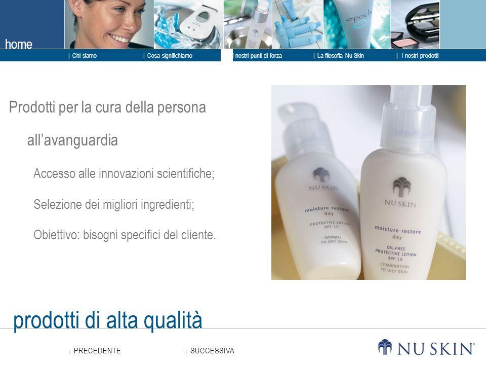 home SUCCESSIVA SUCCESSIVA PRECEDENTE PRECEDENTE Chi siamo I nostri punti di forza La filosofia Nu Skin I nostri prodotti Cosa significhiamo prodotti