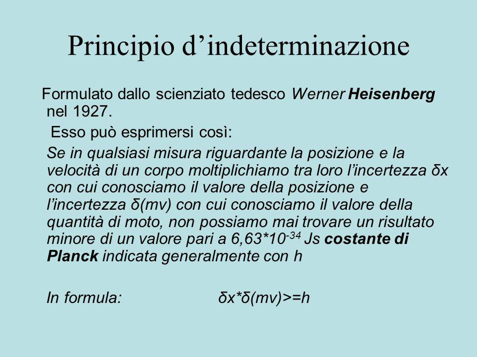 Principio dindeterminazione Formulato dallo scienziato tedesco Werner Heisenberg nel 1927. Esso può esprimersi così: Se in qualsiasi misura riguardant