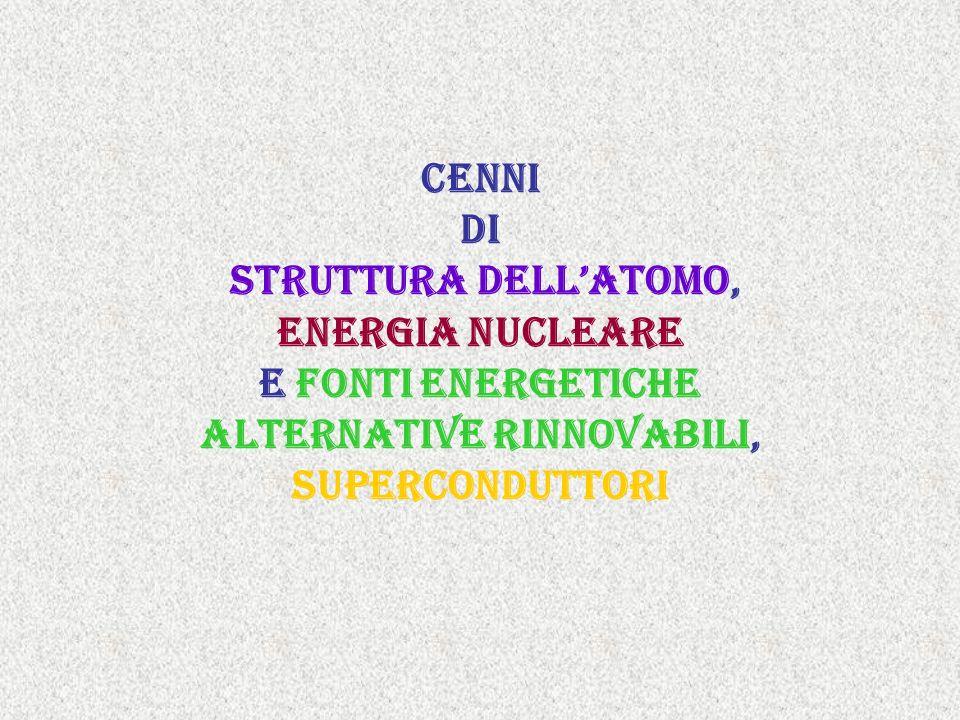 Cenni cenni di struttura dellatomo, Energia nucleare e fonti energetiche alternative rinnovabili, superconduttori