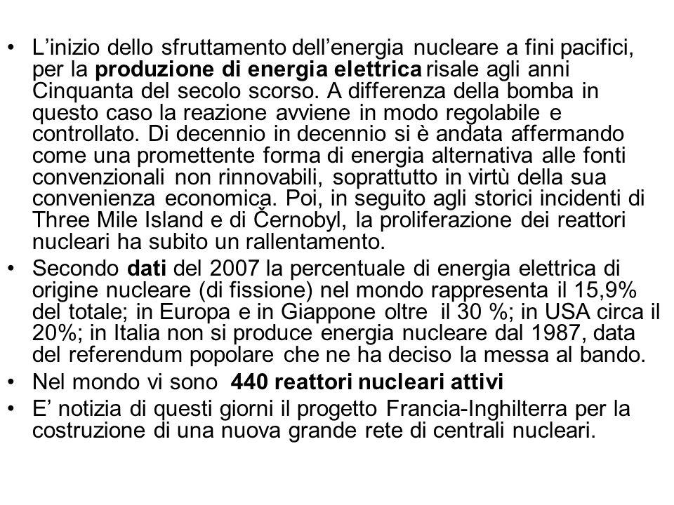 Linizio dello sfruttamento dellenergia nucleare a fini pacifici, per la produzione di energia elettrica risale agli anni Cinquanta del secolo scorso.