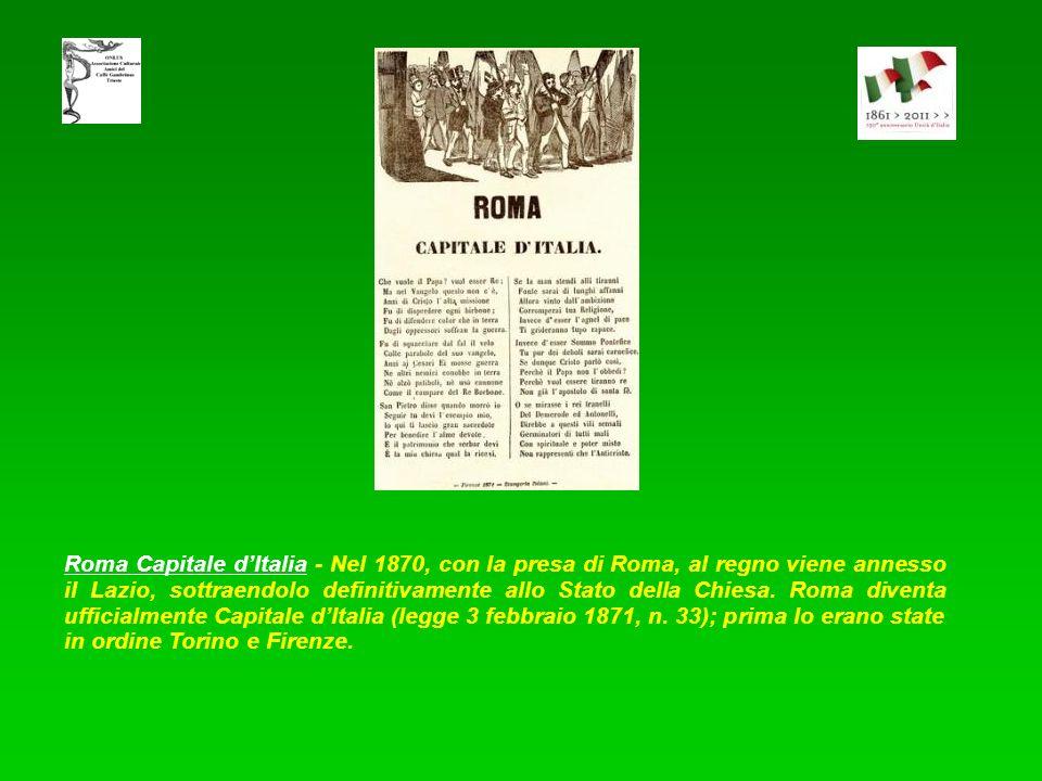 XX settembre - Inno Marcia - Il 27 marzo 1861, la Camera proclamava Roma capitale dItalia. Cavour cercava un accordo sullo spinoso problema con Pio IX