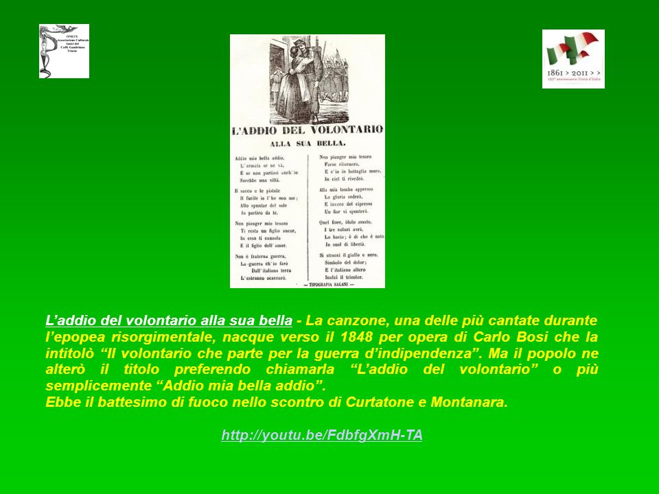 Allarmi, allarmi! Inno a Giuseppe Garibaldi. Composto da Luigi Mercantini (1821-1872) e musicato da Alessio Olivieri. In origine linno era composto di