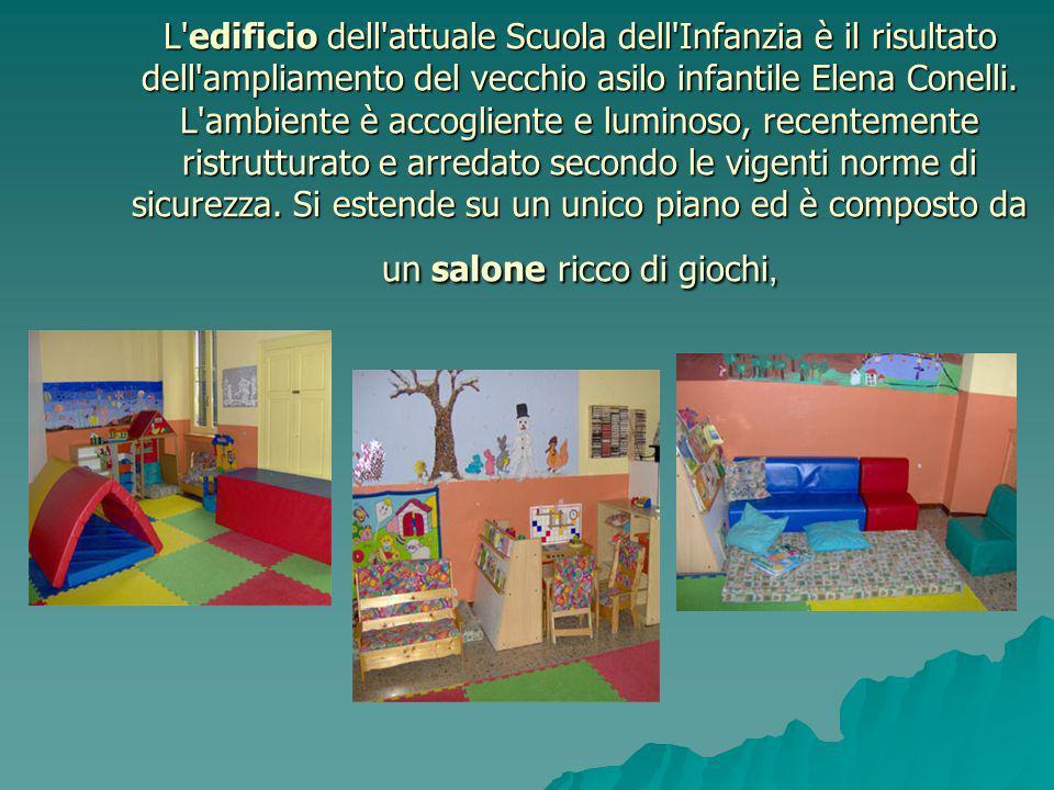 L'edificio dell'attuale Scuola dell'Infanzia è il risultato dell'ampliamento del vecchio asilo infantile Elena Conelli. L'ambiente è accogliente e lum