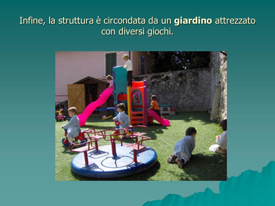Infine, la struttura è circondata da un giardino attrezzato con diversi giochi.