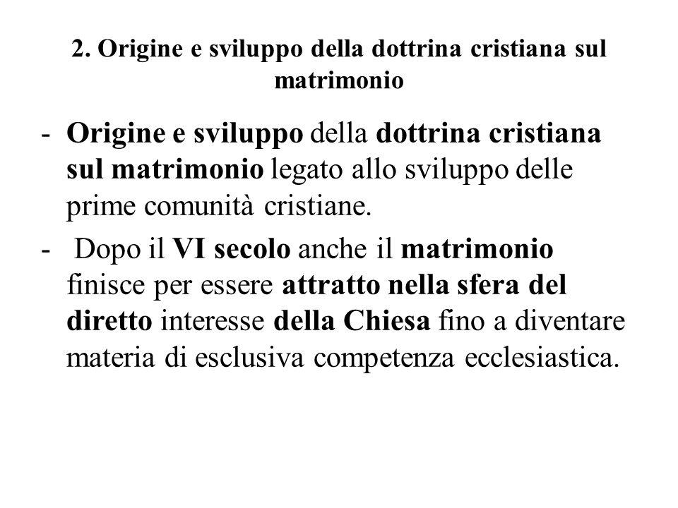 2. Origine e sviluppo della dottrina cristiana sul matrimonio -Origine e sviluppo della dottrina cristiana sul matrimonio legato allo sviluppo delle p