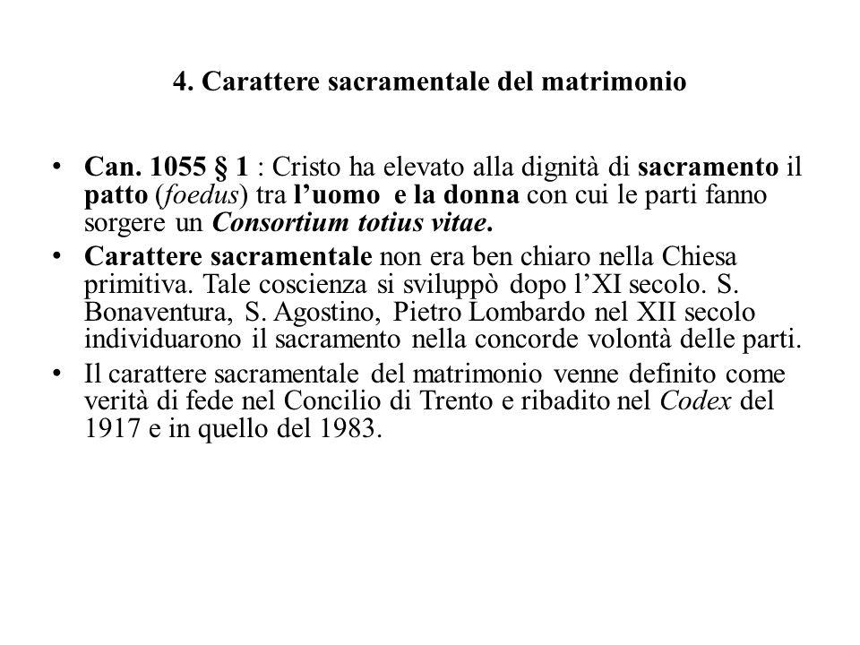 4. Carattere sacramentale del matrimonio Can. 1055 § 1 : Cristo ha elevato alla dignità di sacramento il patto (foedus) tra luomo e la donna con cui l