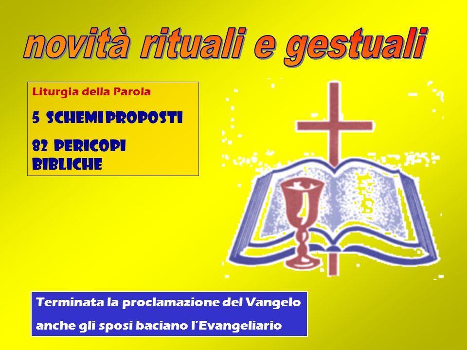 Liturgia della Parola 5 schemi proposti 82 pericopi bibliche Terminata la proclamazione del Vangelo anche gli sposi baciano lEvangeliario