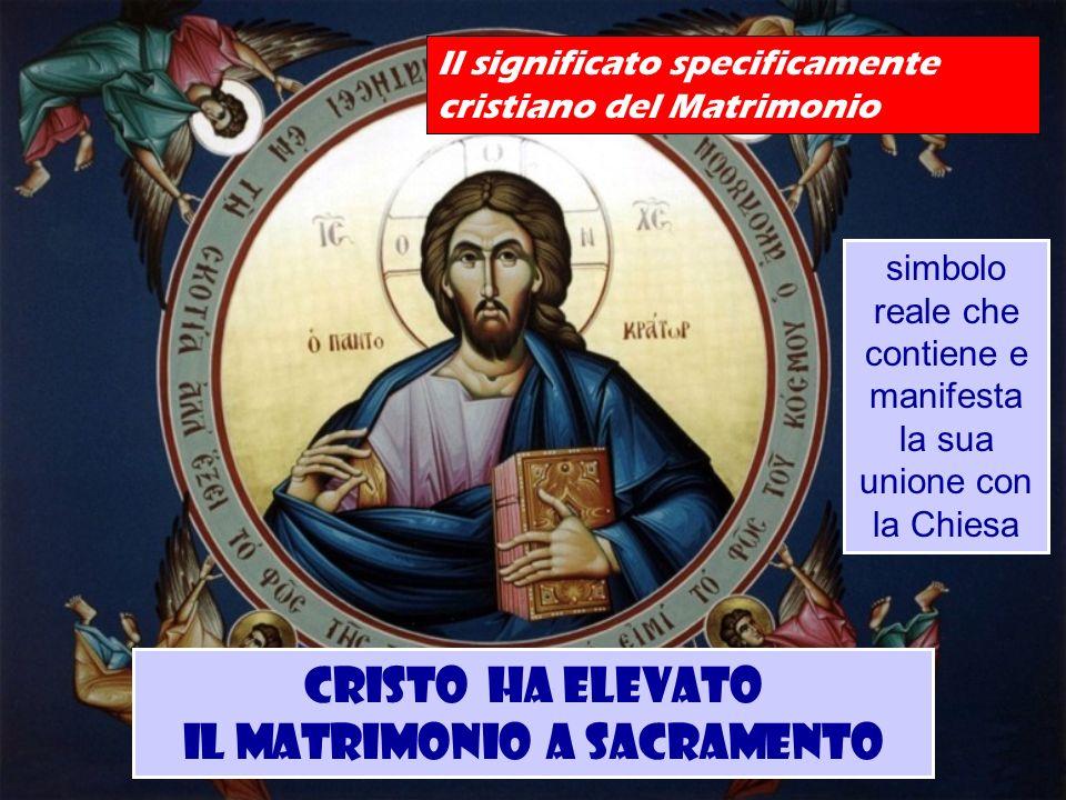 simbolo reale che contiene e manifesta la sua unione con la Chiesa Il significato specificamente cristiano del Matrimonio Cristo ha elevato il Matrimo