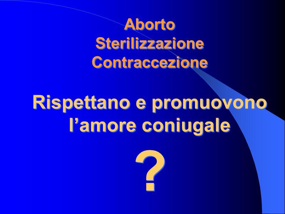 Aborto Sterilizzazione Contraccezione Rispettano e promuovono lamore coniugale ?
