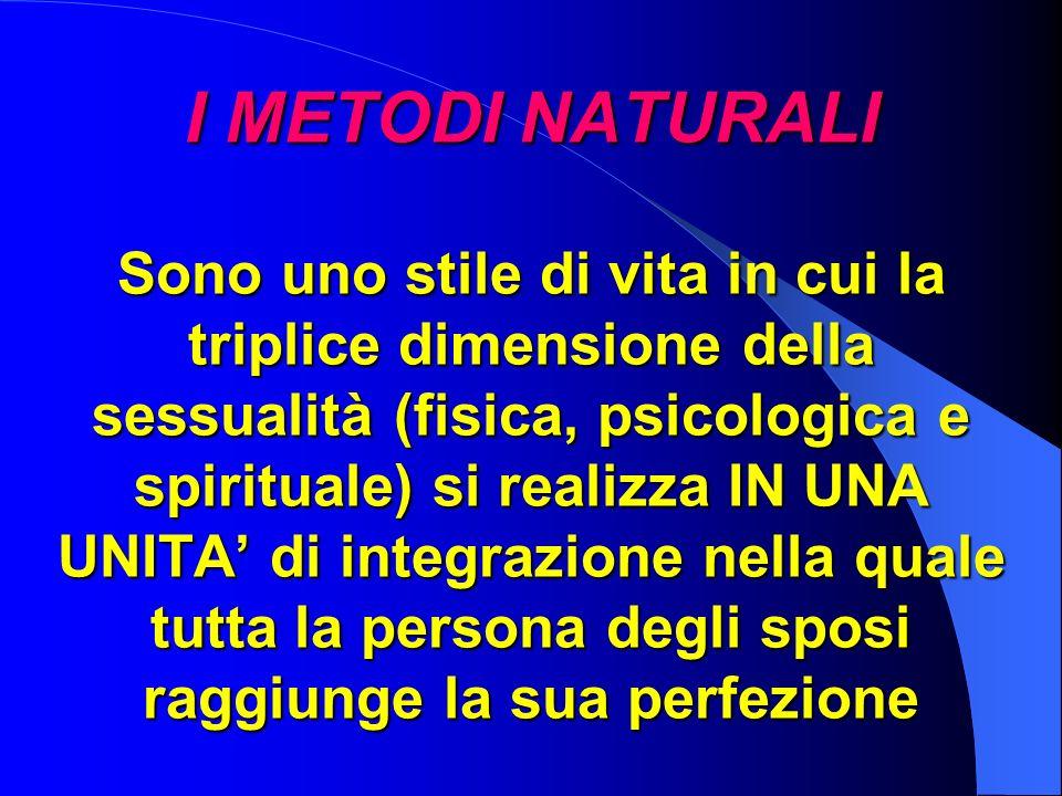 I METODI NATURALI Sono uno stile di vita in cui la triplice dimensione della sessualità (fisica, psicologica e spirituale) si realizza IN UNA UNITA di