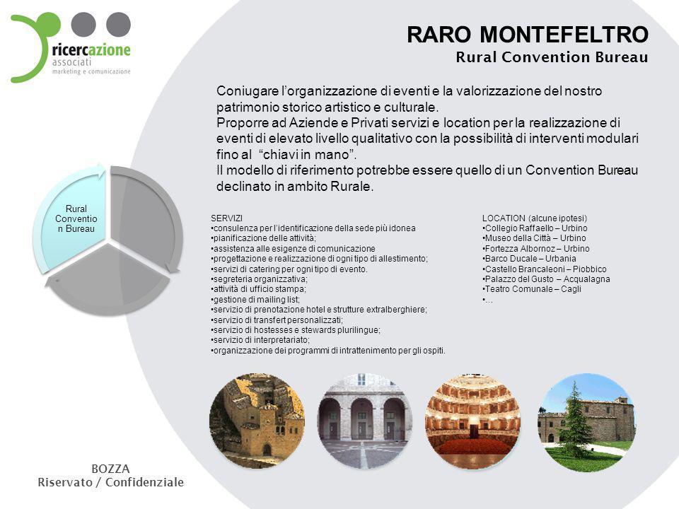 RARO MONTEFELTRO Rural Convention Bureau Coniugare lorganizzazione di eventi e la valorizzazione del nostro patrimonio storico artistico e culturale.
