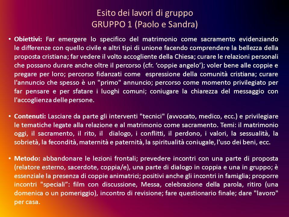 Esito dei lavori di gruppo GRUPPO 1 (Paolo e Sandra) Obiettivi: Far emergere lo specifico del matrimonio come sacramento evidenziando le differenze co