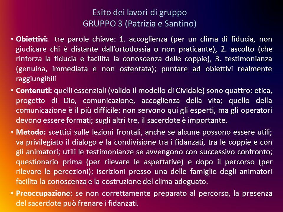 Esito dei lavori di gruppo GRUPPO 3 (Patrizia e Santino) Obiettivi: tre parole chiave: 1. accoglienza (per un clima di fiducia, non giudicare chi è di