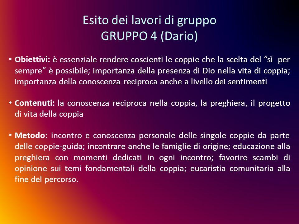 Esito dei lavori di gruppo GRUPPO 4 (Dario) Obiettivi: è essenziale rendere coscienti le coppie che la scelta del sì per sempre è possibile; importanz