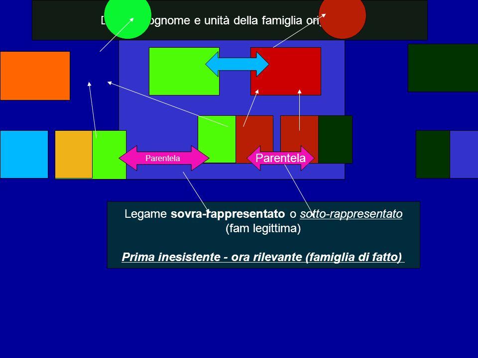 Doppio cognome e unità della famiglia originaria Parentela Legame sovra-rappresentato o sotto-rappresentato (fam legittima) Prima inesistente - ora ri