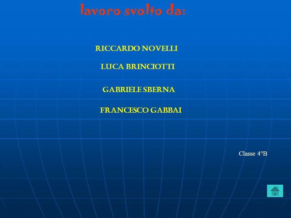 lavoro svolto da: Riccardo novelli Luca brinciotti Gabriele sberna Francesco gabbai Classe 4°B