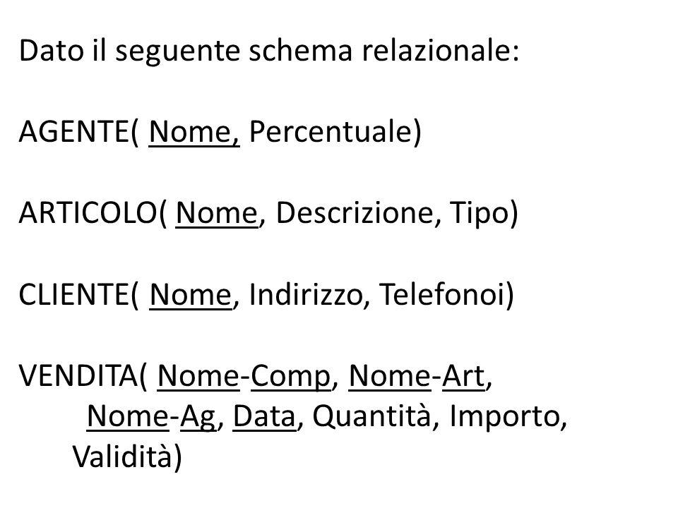 Dato il seguente schema relazionale: AGENTE( Nome, Percentuale) ARTICOLO( Nome, Descrizione, Tipo) CLIENTE( Nome, Indirizzo, Telefonoi) VENDITA( Nome-Comp, Nome-Art, Nome-Ag, Data, Quantità, Importo, Validità)