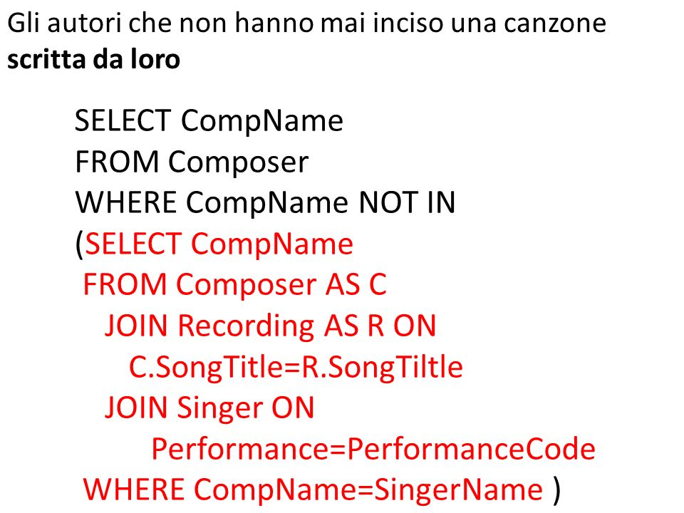 SELECT CompName FROM Composer WHERE CompName NOT IN (SELECT CompName FROM Composer AS C JOIN Recording AS R ON C.SongTitle=R.SongTiltle JOIN Singer ON Performance=PerformanceCode WHERE CompName=SingerName ) Gli autori che non hanno mai inciso una canzone scritta da loro