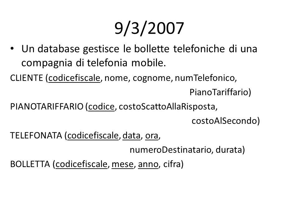 9/3/2007 Un database gestisce le bollette telefoniche di una compagnia di telefonia mobile. CLIENTE (codicefiscale, nome, cognome, numTelefonico, Pian