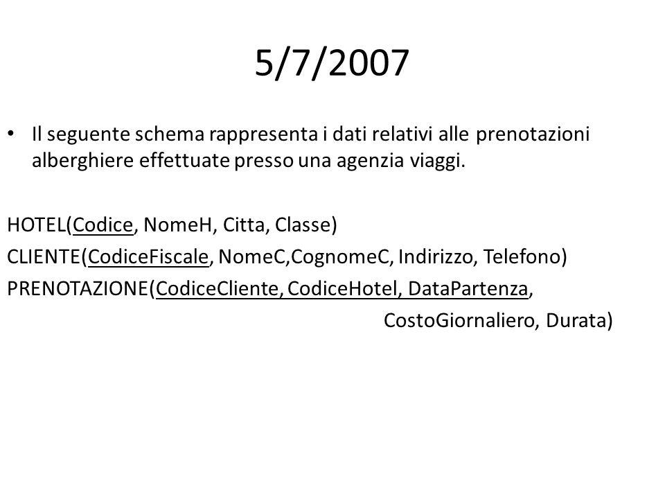 5/7/2007 Il seguente schema rappresenta i dati relativi alle prenotazioni alberghiere effettuate presso una agenzia viaggi. HOTEL(Codice, NomeH, Citta