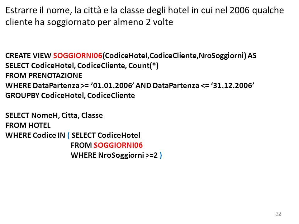 Estrarre il nome, la città e la classe degli hotel in cui nel 2006 qualche cliente ha soggiornato per almeno 2 volte CREATE VIEW SOGGIORNI06(CodiceHotel,CodiceCliente,NroSoggiorni) AS SELECT CodiceHotel, CodiceCliente, Count(*) FROM PRENOTAZIONE WHERE DataPartenza >= 01.01.2006 AND DataPartenza <= 31.12.2006 GROUPBY CodiceHotel, CodiceCliente SELECT NomeH, Citta, Classe FROM HOTEL WHERE Codice IN ( SELECT CodiceHotel FROM SOGGIORNI06 WHERE NroSoggiorni >=2 ) 32