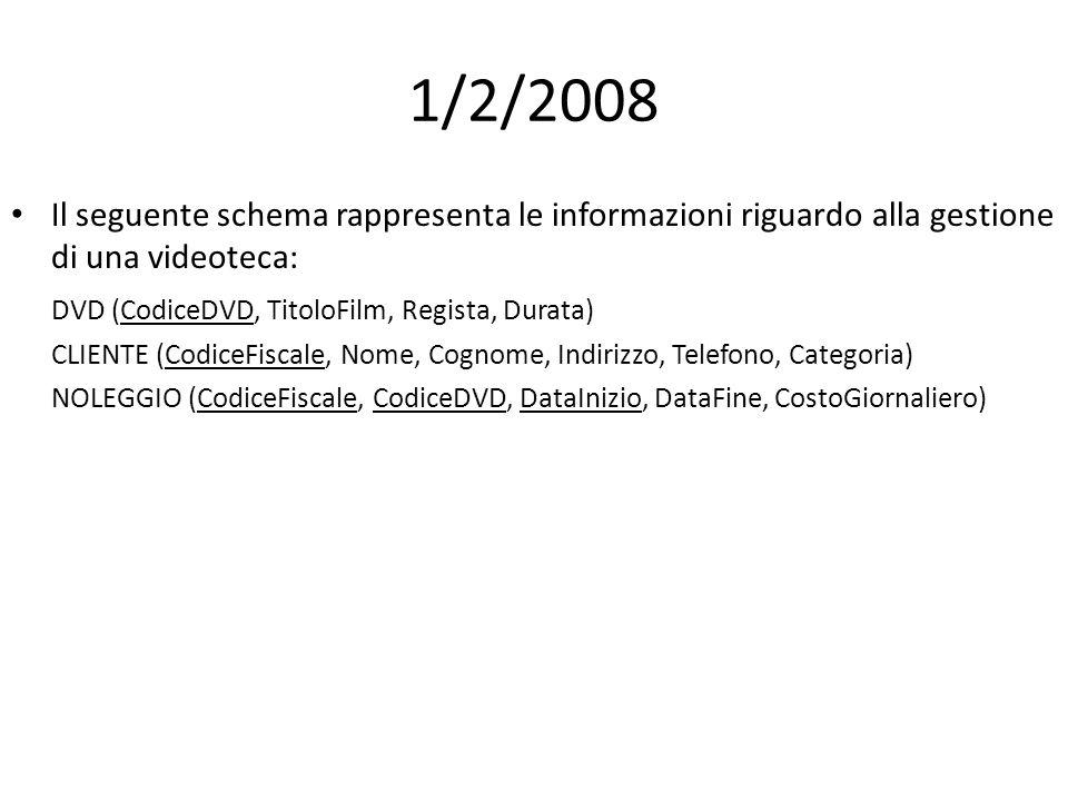 1/2/2008 Il seguente schema rappresenta le informazioni riguardo alla gestione di una videoteca: DVD (CodiceDVD, TitoloFilm, Regista, Durata) CLIENTE (CodiceFiscale, Nome, Cognome, Indirizzo, Telefono, Categoria) NOLEGGIO (CodiceFiscale, CodiceDVD, DataInizio, DataFine, CostoGiornaliero)