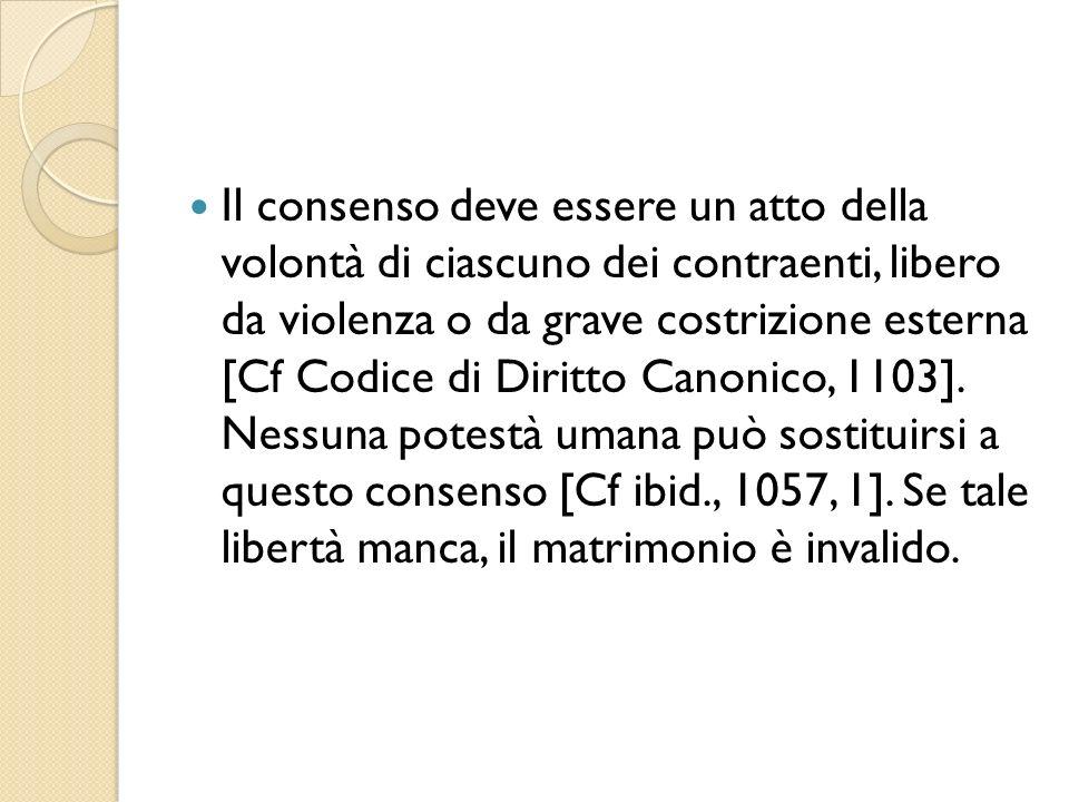 Il consenso deve essere un atto della volontà di ciascuno dei contraenti, libero da violenza o da grave costrizione esterna [Cf Codice di Diritto Cano
