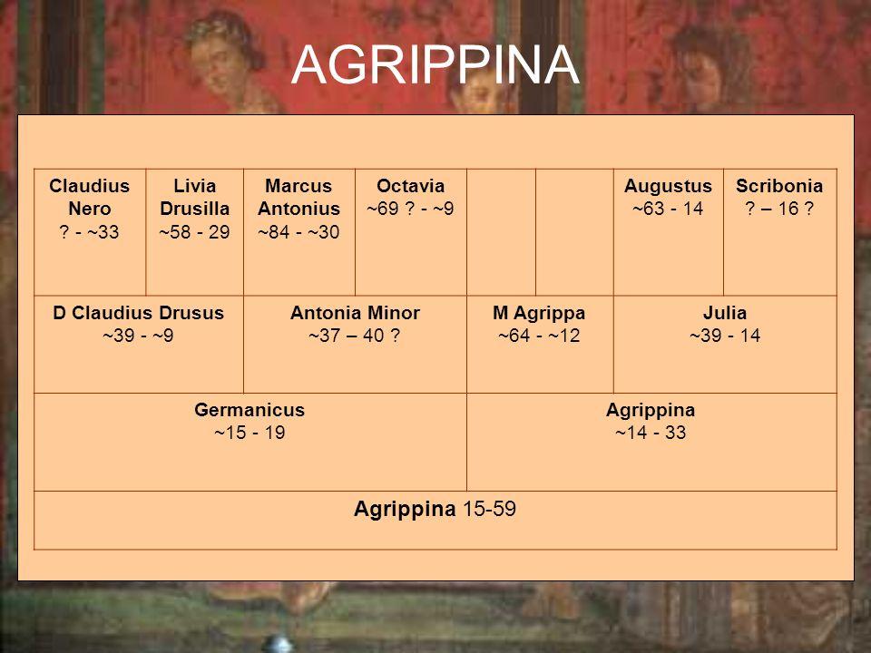 Claudius Nero ? - ~33 Livia Drusilla ~58 - 29 Marcus Antonius ~84 - ~30 Octavia ~69 ? - ~9 Augustus ~63 - 14 Scribonia ? – 16 ? D Claudius Drusus ~39