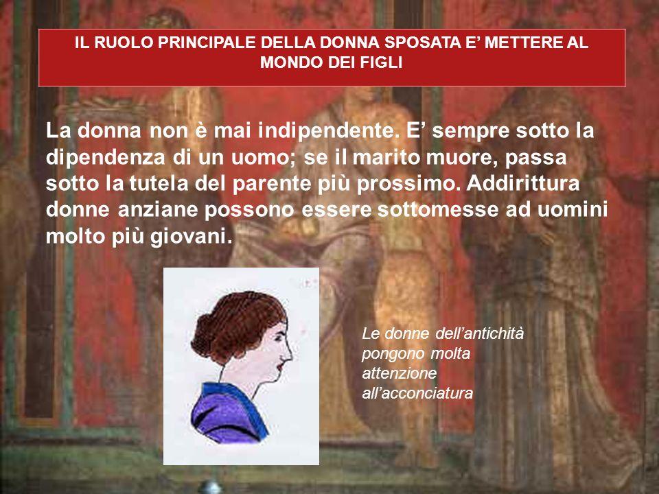 LE SOLE DONNE AD AVERE POTERE SONO DELLE DONNE ECCEZIONALI - Le dee, le muse, le ninfe, ecc., le sacerdotesse Venere, Giunone, Erato, Clio, Calypso ecc..., le Vestali (Gellio, Noctes Atticae, I, 12; Svetonio, De Vita Caesarum, VIII, 4-5) - Figure che incarnano le virtù del mos maiorum Lucrezia (Livio, I, 57,58), Virginia (Livio, III,44), Cornelia (Valerio Massimo, IV,4) - Le puellae Lesbia (Catullo e Cicerone, Pro Caelio), Pirra, Cloe, Barine (Orazio, Carm.