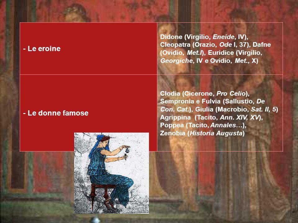 - Le eroine Didone (Virgilio, Eneide, IV), Cleopatra (Orazio, Ode I, 37), Dafne (Ovidio, Met.I), Euridice (Virgilio, Georgiche, IV e Ovidio, Met., X) - Le donne famose Clodia (Cicerone, Pro Celio), Sempronia e Fulvia (Sallustio, De Con.