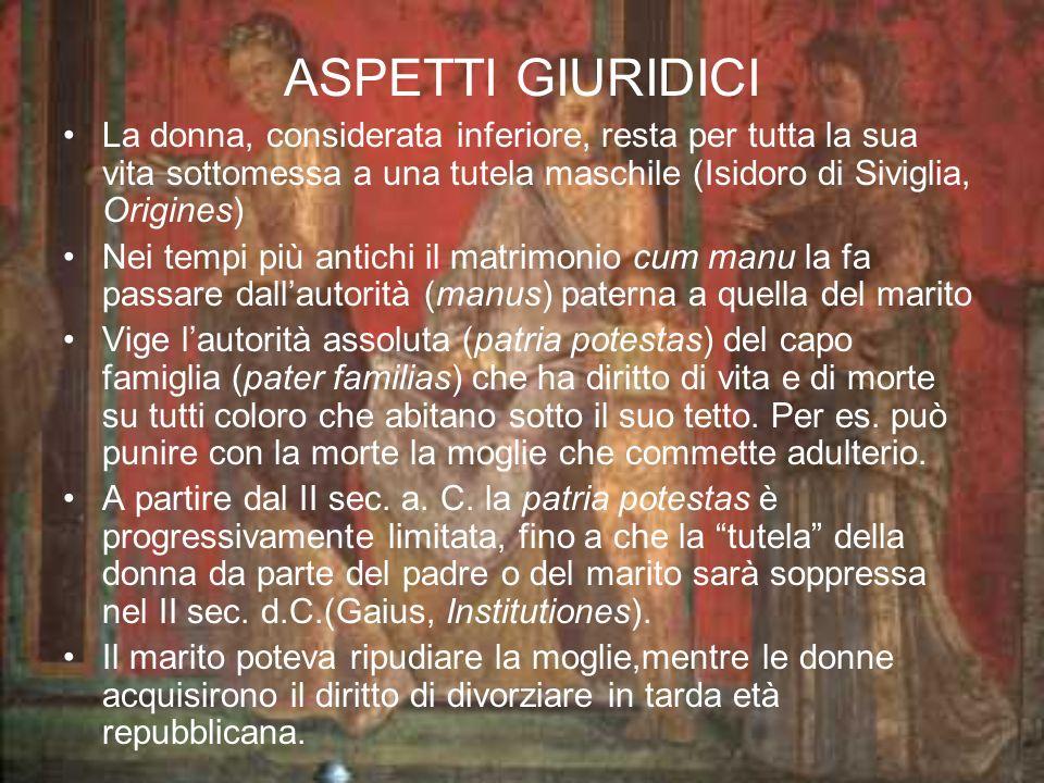 LA VITA QUOTIDIANA La matrona deve essere una moglie sottomessa, restare a casa a filare e tessere la lana (Corpus Inscriptionum Latinarum).