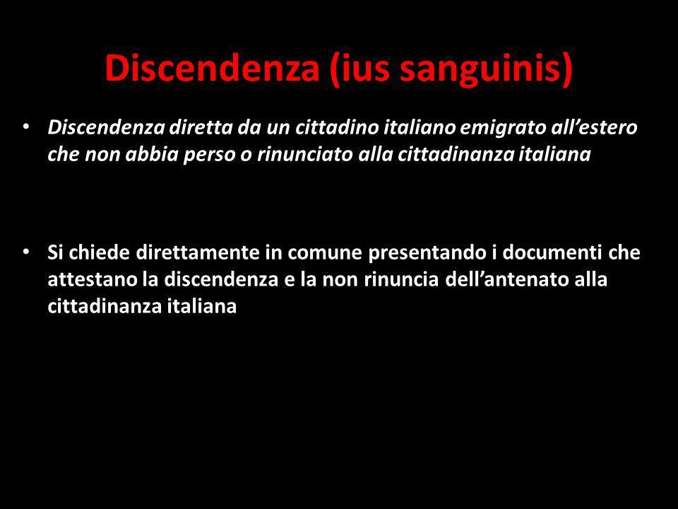 Discendenza (ius sanguinis) Discendenza diretta da un cittadino italiano emigrato allestero che non abbia perso o rinunciato alla cittadinanza italiana Si chiede direttamente in comune presentando i documenti che attestano la discendenza e la non rinuncia dellantenato alla cittadinanza italiana