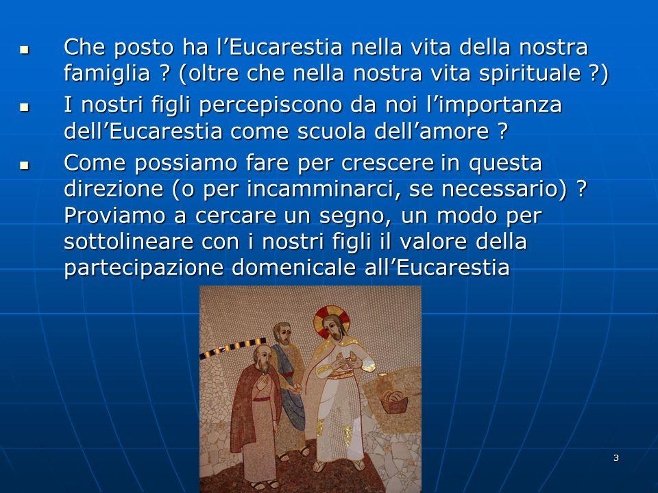 3 Che posto ha lEucarestia nella vita della nostra famiglia ? (oltre che nella nostra vita spirituale ?) Che posto ha lEucarestia nella vita della nos
