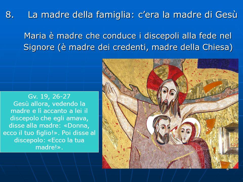 8 8.La madre della famiglia: cera la madre di Gesù Maria è madre che conduce i discepoli alla fede nel Signore (è madre dei credenti, madre della Chie