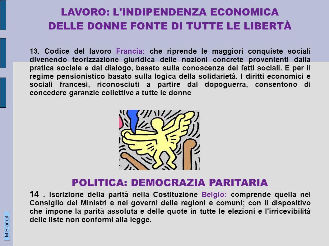 LAVORO: L INDIPENDENZA ECONOMICA DELLE DONNE FONTE DI TUTTE LE LIBERTÀ 13.