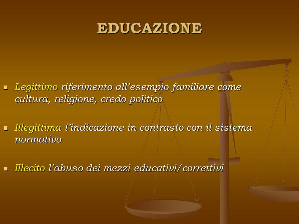 EDUCAZIONE Legittimo riferimento allesempio familiare come cultura, religione, credo politico Illegittima lindicazione in contrasto con il sistema nor