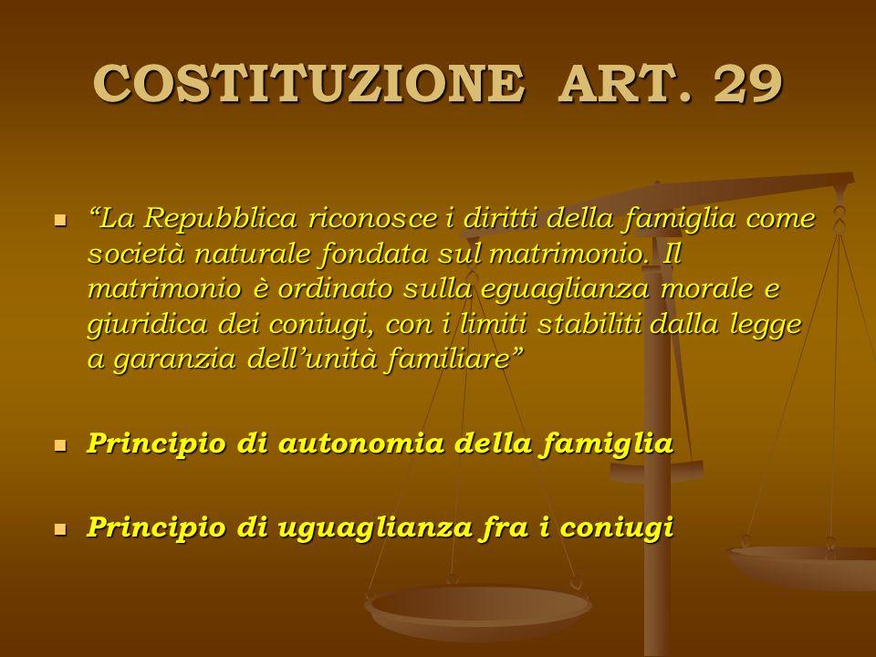 COSTITUZIONE ART. 29 La Repubblica riconosce i diritti della famiglia come società naturale fondata sul matrimonio. Il matrimonio è ordinato sulla egu