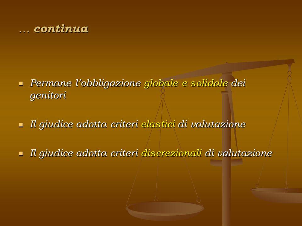 … continua Permane lobbligazione globale e solidale dei genitori Permane lobbligazione globale e solidale dei genitori Il giudice adotta criteri elast