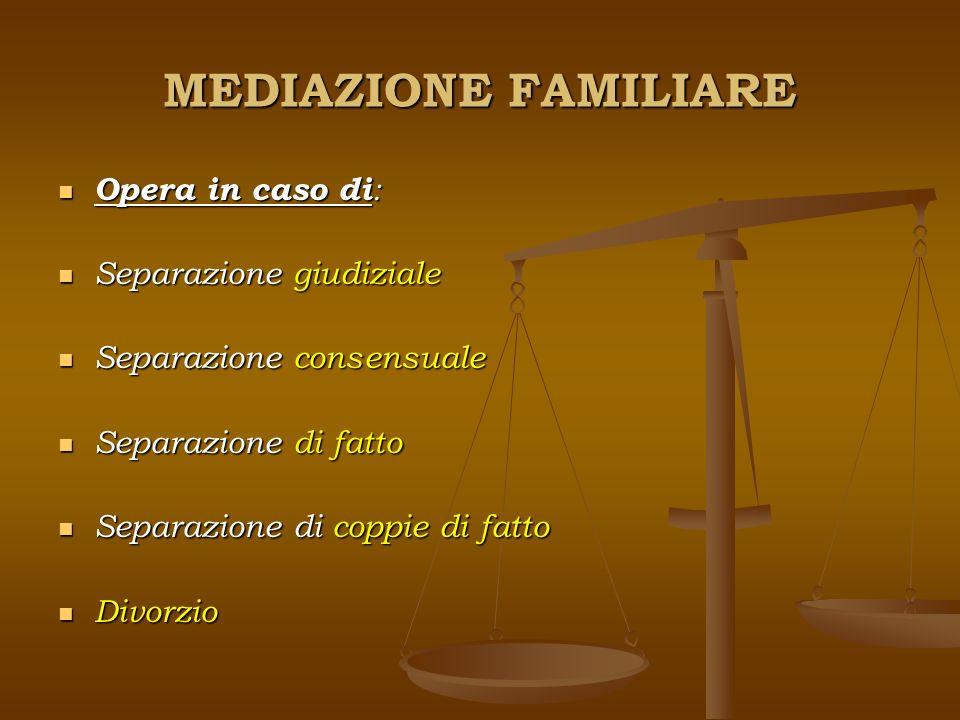 MEDIAZIONE FAMILIARE Opera in caso di: Separazione giudiziale Separazione consensuale Separazione di fatto Separazione di coppie di fatto Divorzio
