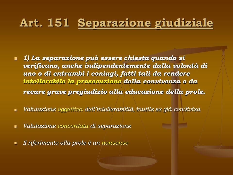 Art. 151 Separazione giudiziale 1) La separazione può essere chiesta quando si verificano, anche indipendentemente dalla volontà di uno o di entrambi